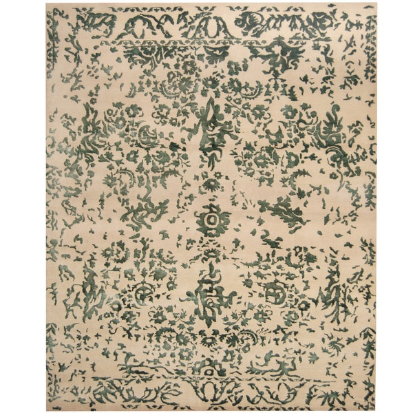 Herat Oriental Indo Hand-knotted Erased Wool and Silk Area Rug (8' x 10') - 8' x 10'