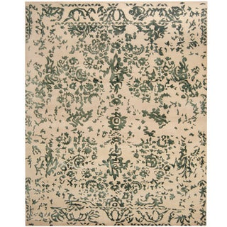 Herat Oriental Indo Hand-knotted Erased Wool and Silk Area Rug (8' x 10')