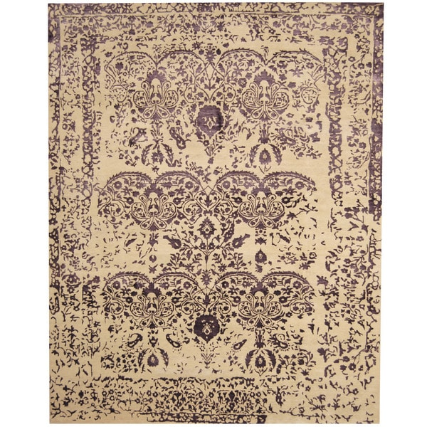 Herat Oriental Indo Hand-knotted Erased Wool and Silk Area Rug (7'8 x 9'8) - 7'8 x 9'8
