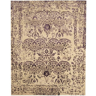 Herat Oriental Indo Hand-knotted Erased Wool and Silk Area Rug (7'8 x 9'8)