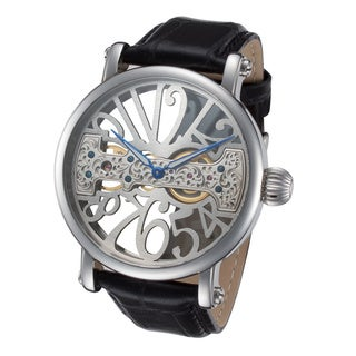 Rougois Men's RS294S-BLK Bridge Mechanical Movement Skeleton Watch
