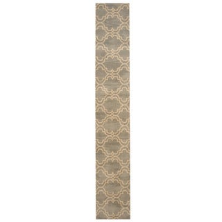 Herat Oriental Indo Hand-tufted Tibetan Light Blue/ Ivory Wool Runner (2' x 12')