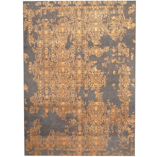 Herat Oriental Indo Hand-knotted Erased Wool and Silk Area Rug (8'4 x 11'7)