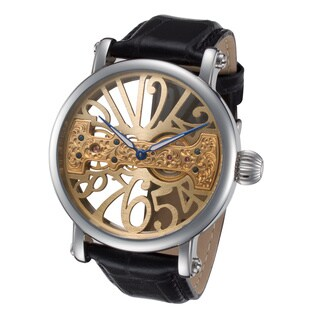Rougois Men's RS294G Goldtone Bridge Mechanical Movement Skeleton Watch