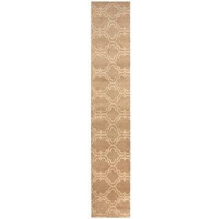 Herat Oriental Indo Hand-tufted Tibetan Beige/ Ivory Wool Runner (2'4 x 12')