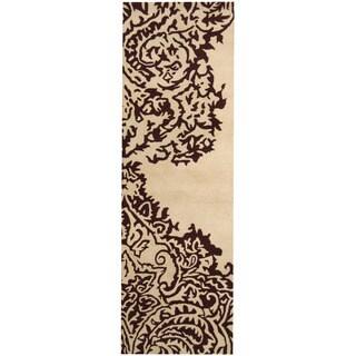 Herat Oriental Indo Hand-tufted Tibetan Ivory/ Brown Wool Runner (2'6 x 8')