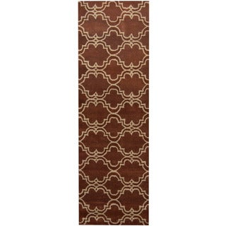 Herat Oriental Indo Hand-tufted Tibetan Brown/ Ivory Wool Runner (2'6 x 8')