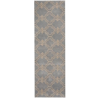 Herat Oriental Indo Hand-tufted Tibetan Light Gray/ Ivory Wool Runner (2'6 x 8')