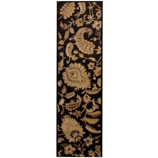Herat Oriental Indo Hand-tufted Tibetan Dark Brown/ Ivory Wool Runner (2'3 x 7'10)