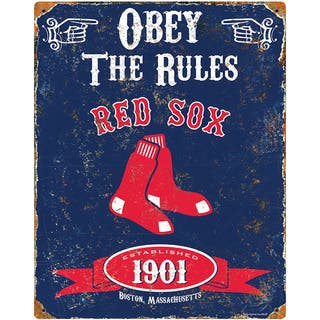 Boston Red Sox Embossed Metal Sign|https://ak1.ostkcdn.com/images/products/11425008/P18387305.jpg?impolicy=medium