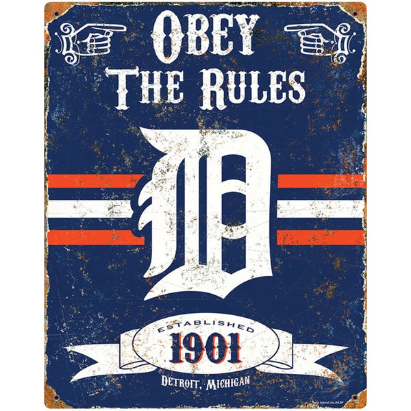 Detroit Tigers Embossed Metal Sign
