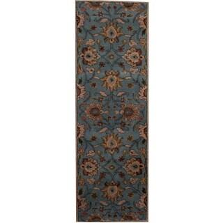 Herat Oriental Indo Hand-tufted Tibetan Blue/ Beige Wool Runner (2'6 x 8')