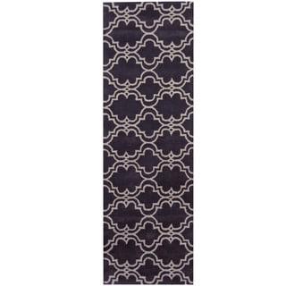 Herat Oriental Indo Hand-tufted Tibetan Purple/ Ivory Wool Runner (2'6 x 8')