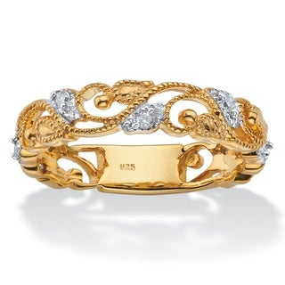 PalmBeach 14k Yellow Gold over Silver 1/10ct TDW Diamond Openwork Filigree Ring (I-J, I1-I2)