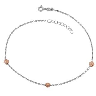Argento Italia Two-tone Sterling Silver Rose Station Adjustable Length Anklet