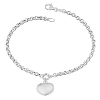 Argento Italia Sterling Silver High Polish Puffed Heart Charm Bracelet (7.5 inches)