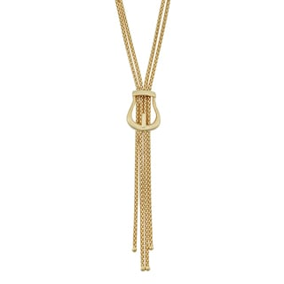 Fremada 18k Yellow Gold Italian High Polish Buckle Double Strand Lariat Necklace (17.5 inches)