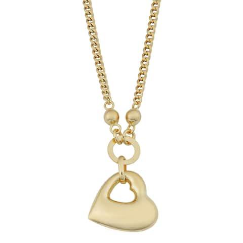Fremada 18k Yellow Gold Italian High Polish Puffed Heart Necklace (17.5 inches)