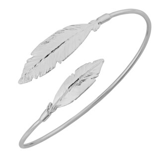 Argento Italia Sterling Silver Feather Bypass Bangle