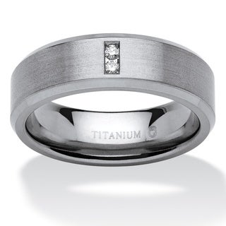 PalmBeach Titanium Men's Round Channel-set Diamond Accent Comfort Fit Angled Wedding Band