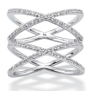 PalmBeach Platinum over Silver 1/3ct TDW Diamond Crisscross Designer-Inspired Double 'X' Ring (I-J, I1-I2)