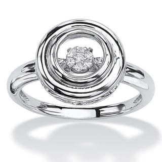 PalmBeach Platinum over Silver Round Diamond in Motion Double Circle Halo Ring