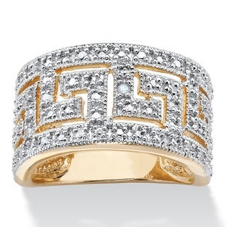 PalmBeach 18k Yellow Gold Overlay Round Diamond Accent Greek Key Cutout Dome Ring