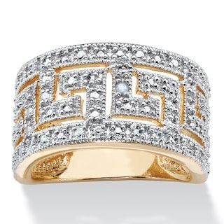 18k Yellow Gold Overlay Round Diamond Accent Greek Key Cutout Dome Ring