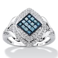 Platinum over Silver 1/2ct TDW Enhanced Blue and White Diamond Marquise Cocktail Ring