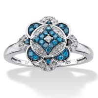 Platinum over Silver 1/5ct TDW Enhanced Blue and White Diamond Floral Motif Cocktail Ring