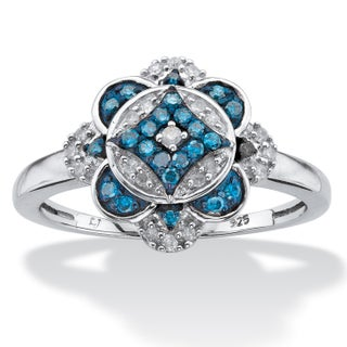 Platinum over Silver 1/5ct TDW Enhanced Blue and White Diamond Floral Motif Cocktail Ring (4 options available)
