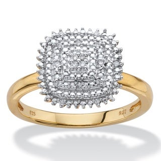 PalmBeach 14k Yellow Gold over Silver Diamond Accent Square Cluster Ring