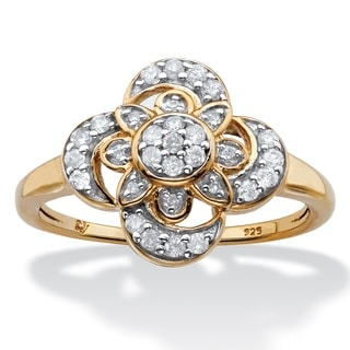 14k Gold over Silver 1/4ct TDW Diamond Floral Motif Cocktail Ring