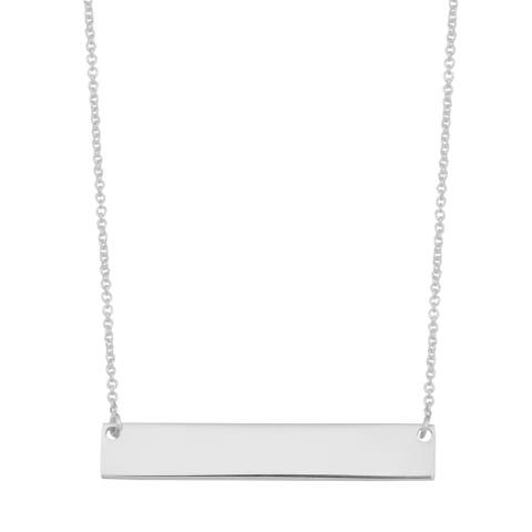 Argento Italia Sterling Silver High Polish Bar Necklace (18 inches)