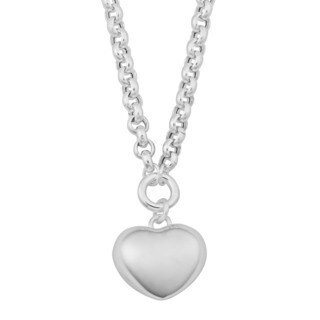Argento Italia Sterling Silver High Polish Puffed Heart Charm Necklace (18 inches)