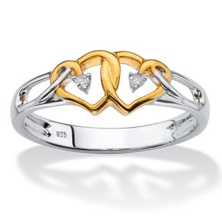 PalmBeach 14k Yellow Gold over Silver Diamond Accent Two-tone Double Heart Ring