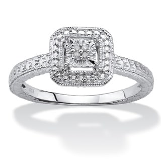 Sterling Silver Diamond Accent Octagon Halo Ring