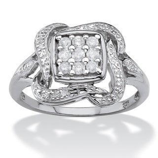 Platinum over Silver 1/4ct TDW Diamond Cluster Ribbon Halo Squared Ring (I-J, I1-I2) - White