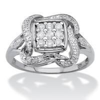 Platinum over Silver 1/4ct TDW Diamond Cluster Ribbon Halo Squared Ring (I-J, I1-I2) - White