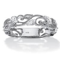 Sterling Silver 1/10ct TDW Diamond Openwork Filigree Ring - White