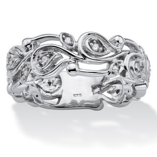 Sterling Silver 1/10ct TDW Diamond Openwork Scroll Ring - White