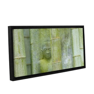 ArtWall Cora Niele's Bamboo Buddha Green Gallery Wrapped Floater-framed Canvas