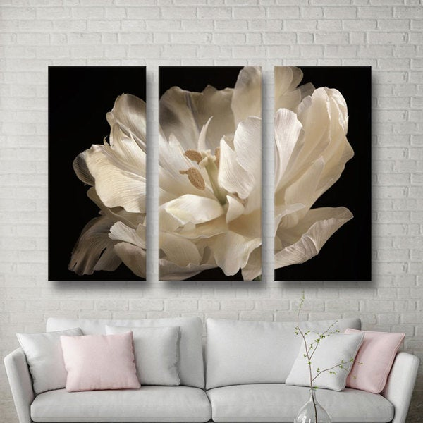 ArtWall Cora Niele's White Tulip 3-piece Gallery Wrapped Canvas Set