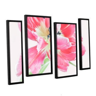 ArtWall Cora Niele's Catchy Flower 4-piece Floater Framed Canvas Staggered Set