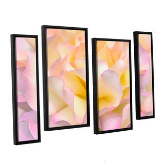 ArtWall Cora Niele's Pink Yellow Rose 4-piece Floater Framed Canvas Staggered Set