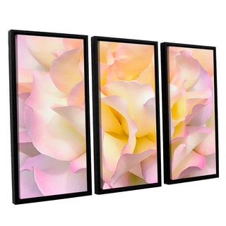 ArtWall Cora Niele's Pink Yellow Rose 3-piece Floater Framed Canvas Set