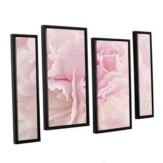 ArtWall Cora Niele's Peony Macro 4-piece Floater Framed Canvas Staggered Set
