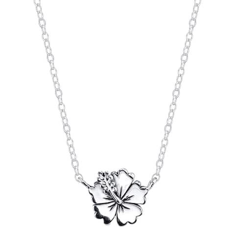 Disney Sterling Silver Lilo & Stitch Flower Necklace