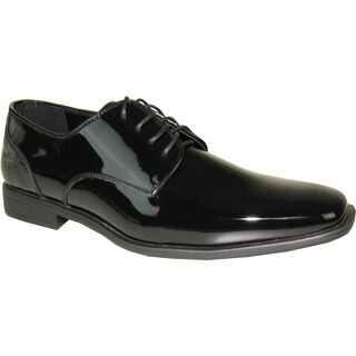 VANGELO Men Dress Shoe TUX-2 Oxford Formal Tuxedo for Prom & Wedding Shoe Black Patent -Wide Width Available