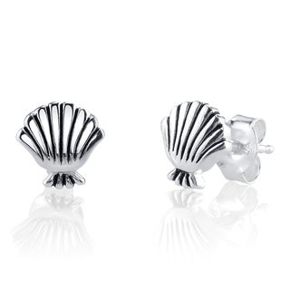 "Disney's ""Little Mermaid"" Sterling Silver Seashell Stud Earrings"